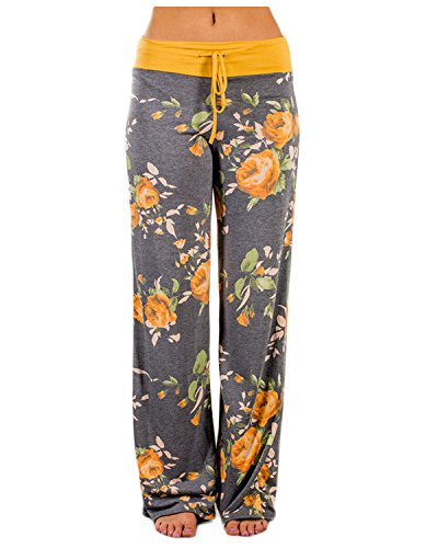 l Wide Leg Pajama Pants Floral Print Comfy Drawstring High Waist Yoga Lounge Palazzo Pants Yellow L (Elastic Waist Sweatpants)
