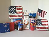 FIRE WIRE Stainless Steel Flexible Grilling Skewer (Set of 2), Pillsbury Devils Food Cake Mix, Pillsbury Fudge Frosting, Patriotic flag featuring our Stars and Stripes Paper Dinner Plates(8 ct) and Luncheon Plates (8 ct), A Set of Red Napkins (24ct) and Blue Napkins (24ct), A set of Red Plastic Tumbler/Cups (18 ct), a Set of Blue Plastic Utensils (set for 15), Plus a BONUS FREE Small Patriotic American Flag. A Great Memorial Day Party Favor Bundle (10 Items)