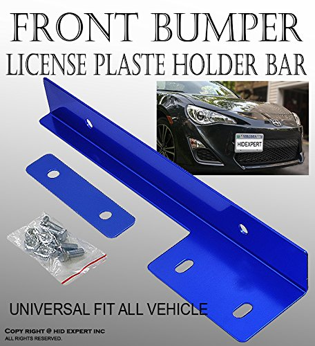 ICBEAMER Aluminum Bumper Front License Plate Mount Relocate Universal Bracket Fit All Vehicle [Color: Blue] Pack of 1