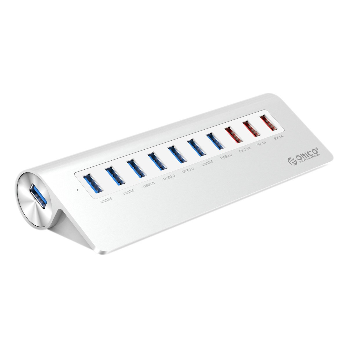 ORICO Premium 10 Port USB 3.0 Hub with 3.3 Ft Cable - 7 USB 3.0 Ports, 3 Charging Ports for iMac, MacBook, MacBook Air, Mac Mini, or Any PC - Silver