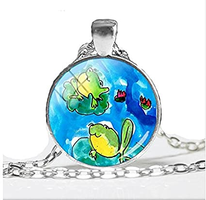 Amazon Com Cute Frog Painting Hand Craft Jewelry Glass Dome Pendant