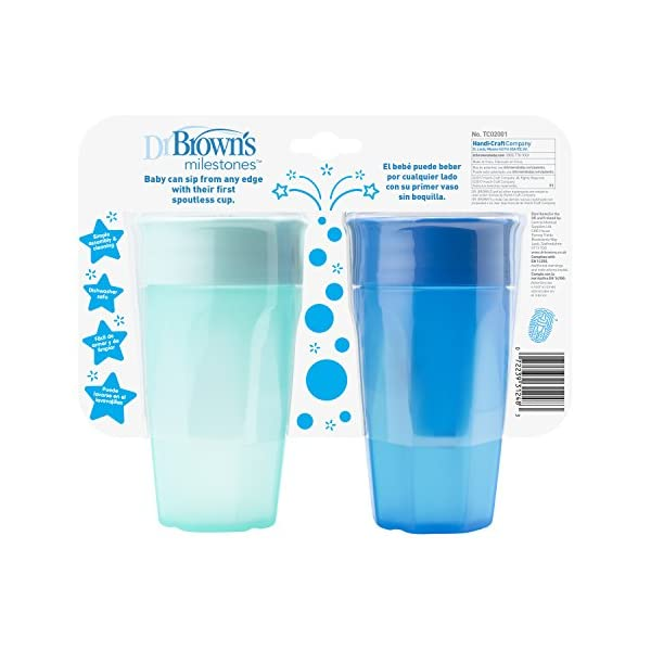 10 Ounce 9m+ Brown/'s Cheers 360 Spoutless Training Cup Dr Blue//Aqua 2 Count
