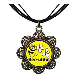 Chicforest Bronze Retro Style Bee Utiful Flowers Sun Flower Pendant