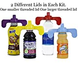 kroger yogurt - Sippy Cup Spill Proof Lid Screw On Universal Bottle Lids Kit for Baby and Toddler - Fits Almost All Juice, Water, Milk, etc Bottles - Made in the USA by Sippy N'A Jiffy (red/blue)