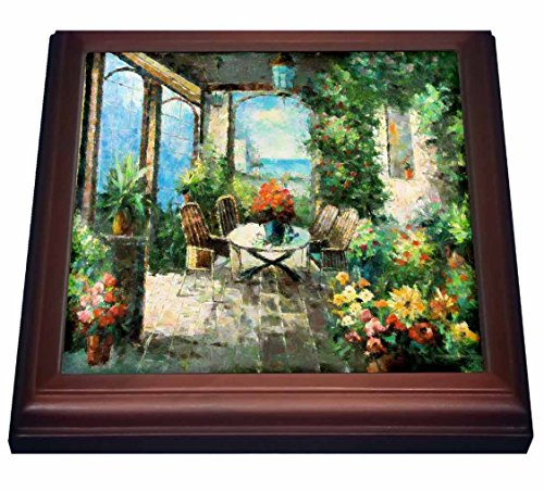 3dRose trv_80514_1 Picture of an Italian Villa Painting Trivet with Ceramic Tile, 8 by 8