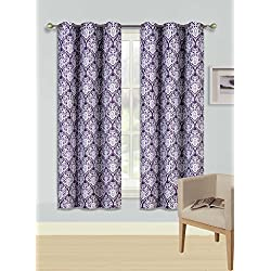 "Gorgeous Home (F'S)DIFFERENT COLORS & SIZES 2PC PANELS GEOMETRIC PATTERN PRINTED THERMAL FOAM LINED BLACKOUT HEAVY THICK WINDOW CURTAIN DRAPES SILVER GROMMETS (F12 PURPLE FLORAL, 63"" LENGTH)"