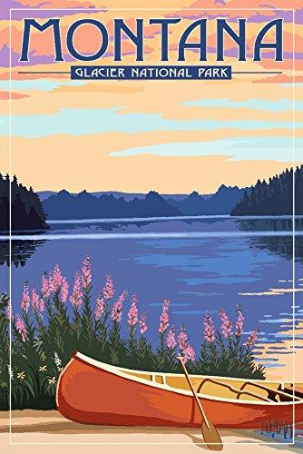 Montana Vintage Travel Poster - Glacier National Park, Montana - Canoe and Lake (12x18 Art Print, Wall Decor Travel Poster)