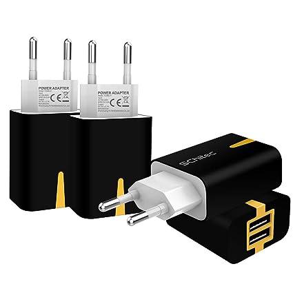 SCHITEC Cargador de Pared USB 2 Puertos, Paquete de 4 5V / 2.1A Puerto Doble Adaptador de Pared portátil Adaptador de Corriente para Enchufe de Viaje ...