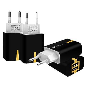 SCHITEC Cargador USB,4 Pack 5V / 2.1A 2 Puertos Cargador USB Pared USB Adaptador de Corriente para Enchufe de Viaje en el hogar para iPhone ...