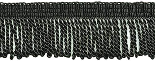 D/ÉCOPRO 2 Inch Long Black Thin Bullion Fringe Trim K9 Style# BFT2 Color Sold by The Yard