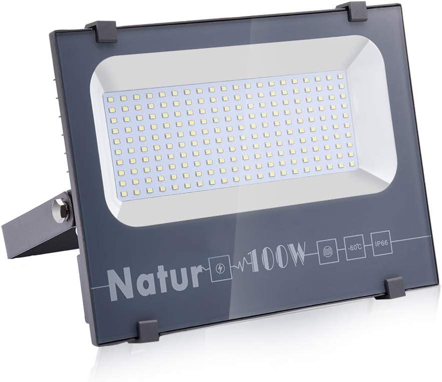 Natur 100W LED Foco Exterior alto brillo 10000LM,Impermeable IP66 Proyector Foco LED, Iluminación de Seguridad,Blanco cálido(3000K) para Patio,Camino, Jardín[Clase de eficiencia energética A++]