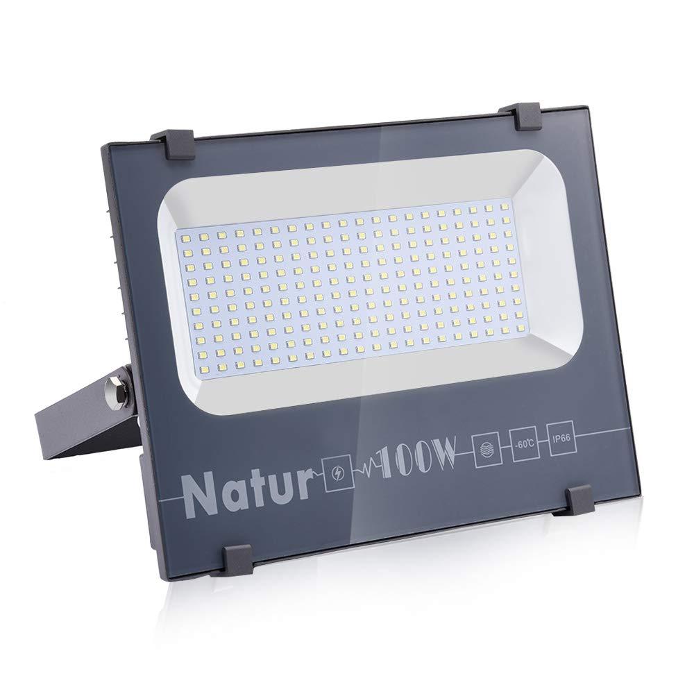 Natur 100W LED Foco Exterior alto brillo 10000LM,Impermeable IP66 Proyector Foco LED, Iluminación de Seguridad,Blanco cálido(3000K) para Patio,Camino, Jardín[Clase de eficiencia energética A++] product image