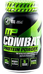 MusclePharm Combat Protein Powder - Essential blend of Whey, Isolate, Casein and Egg Protein with BCAA's and Glutamine for Recovery, Chocolate Milk, 2 Pound