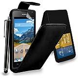 Huawei Ascend Y550 - Étui rabattable en cuir housse capot + Touch Stylet + écran protecteur & chiffon de polissage ( noir )