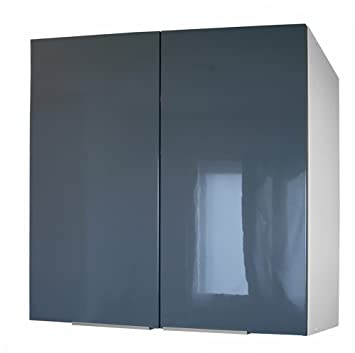 berlenus cp8hg meuble haut de cuisine avec 2 portes gris haute brillance 80 cm