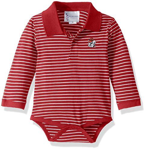 Two Feet Ahead NCAA Georgia Bulldogs Boys Infant Boys Long Sleeve Stripe Golf Creeperinfant Boys Long Sleeve Stripe Polo Creeper, Red, New Born ()