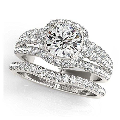 14K White Gold Unique Wedding Diamond Bridal Set Style MT50829