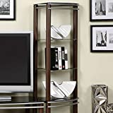 Contemporary Black Tempered Glass 2 Pier Brown and Silver Entertainment Center Wall Unit