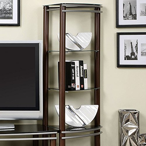 Contemporary Black Tempered Glass 2 Pier Brown and Silver Entertainment Center Wall Unit - Glass Entertainment Unit