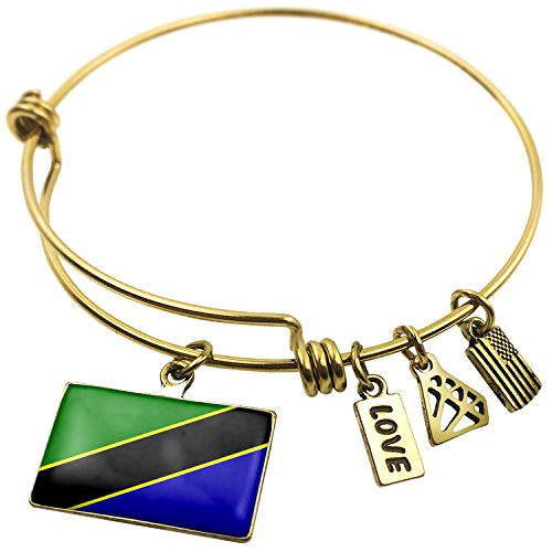 Expandable Wire Bangle Bracelet Tanzania Flag - NEONBLOND
