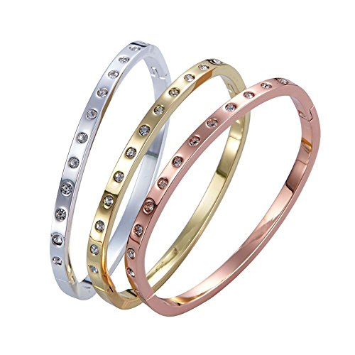 Cartier Inspired Jewelry (SMARTVIEW Inlay Zircon Screw Bangle Cuff Bracelet Rose Gold/ Gold/Silver Finish (Set of 3))