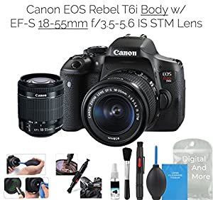 Canon EOS Rebel T6i Digital SLR Camera (Wifi Enabled) w/ EF-S 18-55mm f/3.5-5.6 IS STM Lens + DigitalAndMore Deluxe Camera Cleaning Solution