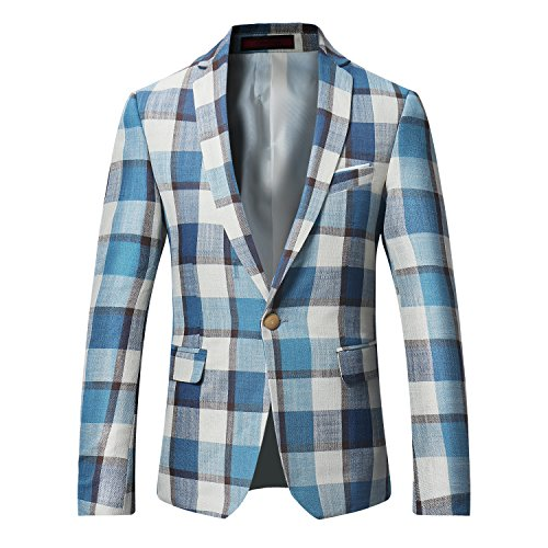 Men's Dinner Jacket One Button Patterned Party Blazer Plaid Sports Coat ()