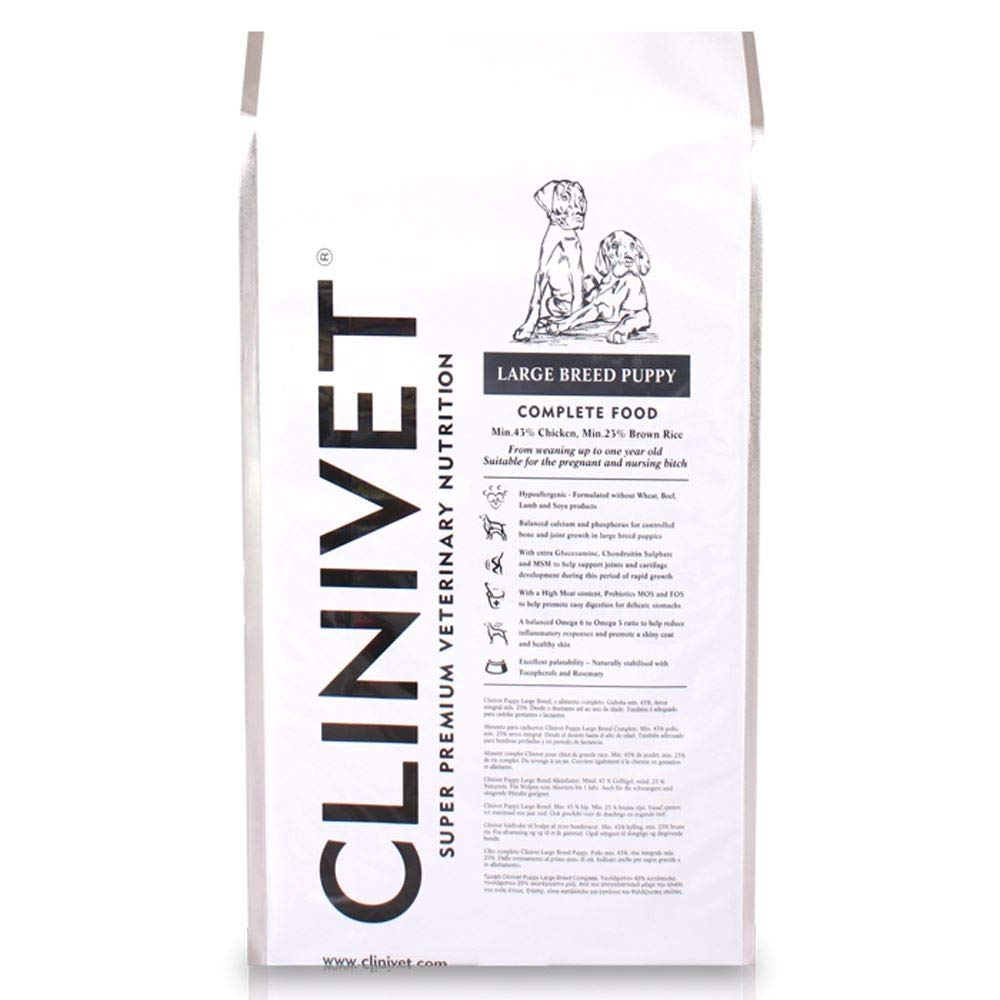 15kg Clinivet Large Breed Puppy Super Premium Natural Hypoallergenic Complete Dry Dog Food  Rich in Predein and Vitamins, 15kg
