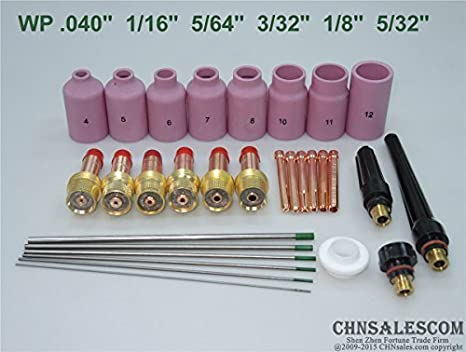 "18 pcs TIG Welding Torch Gas Lens Kit WP-17 WP-18 WP-26 WP 0.04/"" 1//16/"" 3//32/"""