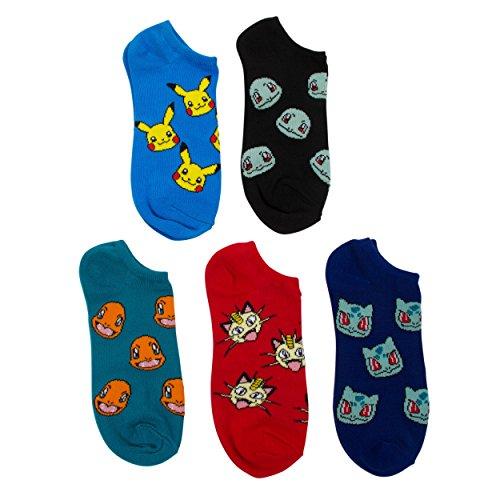 Pokemon Boys Tossed Heads 5 pk (5 Pair) No Show Socks