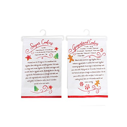 Christmas Sugar and Gingerbread Cookie Recipe Dishtowels - Set of Two Towels