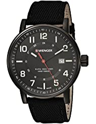 Wenger Mens Attitude Outdoor Swiss Quartz Stainless Steel and Nylon Casual Watch, Color:Black (Model: 01.0341.111)