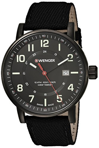 Black Wenger Swiss (Wenger Men's 'Attitude Outdoor' Swiss Quartz Stainless Steel and Nylon Casual Watch, Color:Black (Model: 01.0341.111))