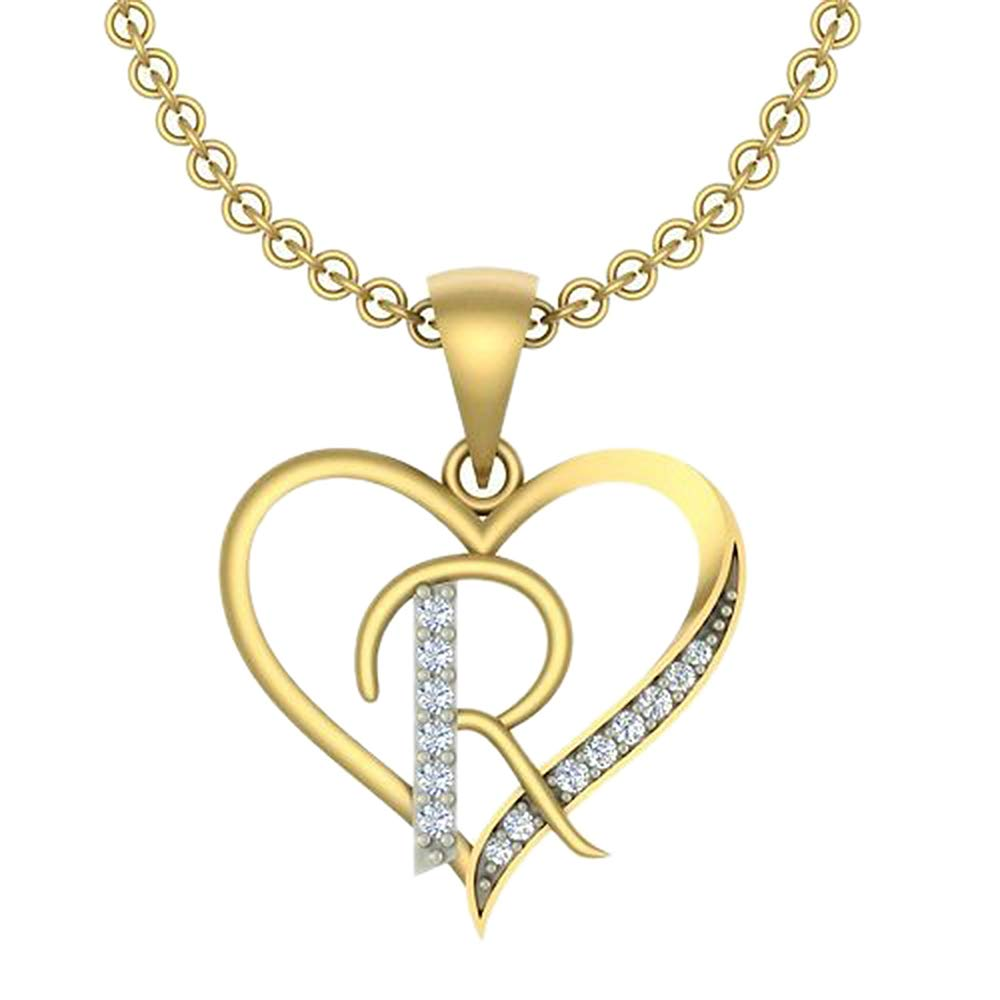 0.10 Ct Round Cut Simulated Diamond LetterR In Heart Pendant With 18 Chain 14K Yellow Gold Plated