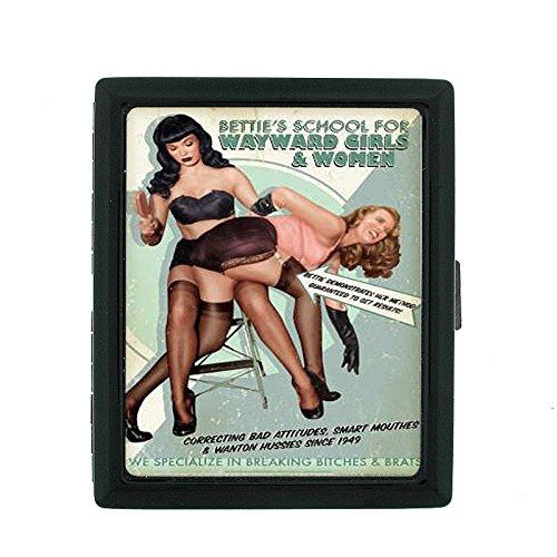 - Metal Cigarette Case Vintage Poster D-047 Bettie's School For Wayward Girls & Women Retro Vintage