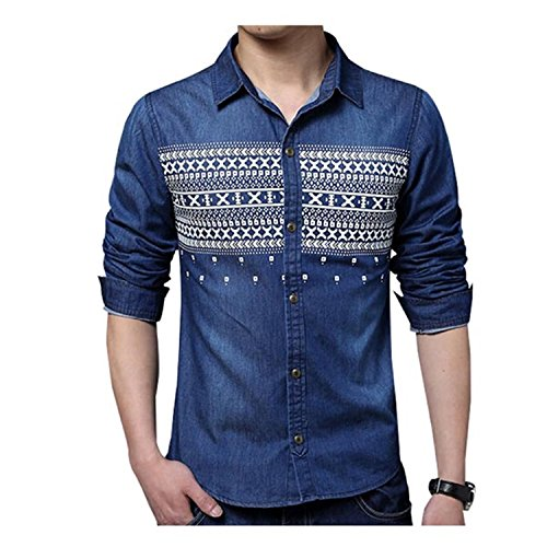 NeeKer Jacket Men Shirt Fashion Print Denim Shirt Casual Slim Fit Long-Sleeved Cotton Shirt Z2181 Deepblue 4XL