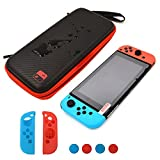 Jadebones Storage Bag Sets for Switch, Carbon Fiber Waterproof Travel Case with Tempered Glass Screen Protector and NS Joy-Con Controller Silicone Case Thumb Grips Kit for Nintendo Switch Review