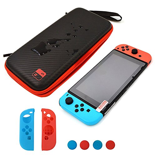 (Jadebones Storage Bag Sets for Switch, Carbon Fiber Waterproof Travel Case with Tempered Glass Screen Protector and NS Joy-Con Controller Silicone Case Thumb Grips Kit for Nintendo)