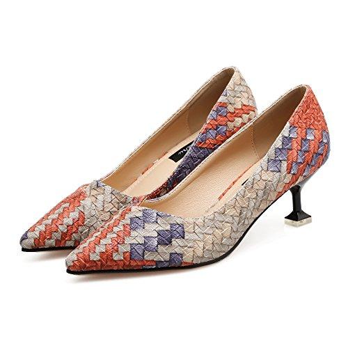 Femenino luz Femenina Zapatos Bien la Hechizo Cuatro de Zapatos de a con Trabajo Punta Zapatos Xue Colores del Heel Qiqi Cuero La Shoes naranja Alto Solo Pwqg0