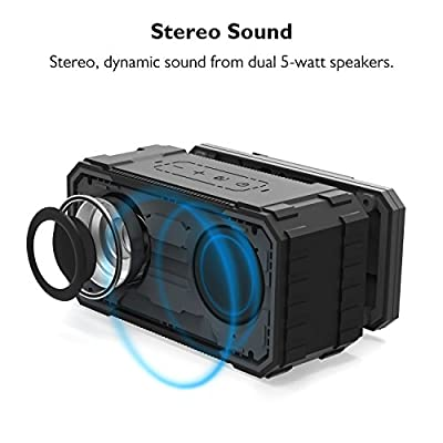 Bluetooth Speaker, BestOnly Sound Portable Outdoor Speaker with 10W Stereo Sound and Enhanced Bass, IPX6 Waterproof, Dustproof, Shockproof Wireless Speaker, Handsfree Calling and TF Card Slot, Black
