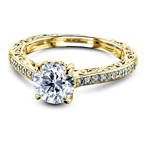 (1 1/3 Carat TDW Round Diamond Vintage Engagement Ring 14k Yellow Gold (HI/VS, GH/I1-I2), 6.5)