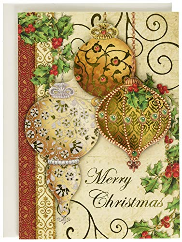 Punch Studio Gold Christmas Ornaments Dimensional Holiday Greeting Cards - Set of 12 (50359) (Christmas Punch Cards)