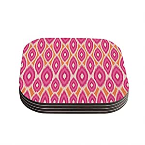 "Kess InHouse Amanda Lane ""Pink and Orange Moroccan"" Magenta Tangerine Coasters, 4 by 4-Inch, Pink, Set of 4"