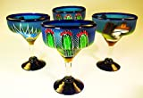 Mexican Glass Margarita Hand Painted Poncho and Cactus, 14 oz, set of 4
