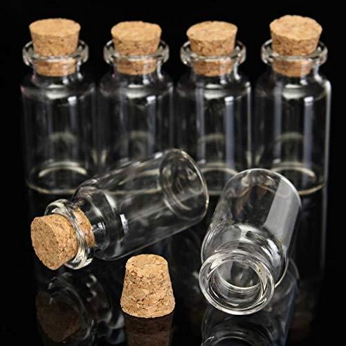 Price comparison product image 10 Pcs 12ml 45 X 24mm Mini Bottles Flasks Glass Flask Cork Stopper Jewelry Storage - Storage Bottles Jars