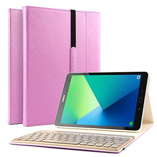 - Samsung Galaxy Tab A 10.1 Keyboard Case, KVAGO Stylish Protective Cover with Detachable 7 Colors Back-lit Wireless Bluetooth Keyboard Case Stand Sleeve for Samsung Galaxy Tab A 10.1 inch -Pink