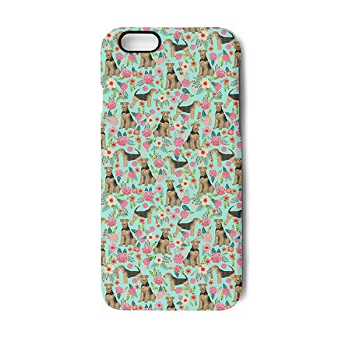 iPhone 7 Case Airedale Terrier Cute Dogs with Florals Shock Absorption TPU Cover Case Drop Protection Phone Case for iPhone 7/8