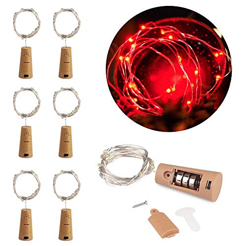 MOMO Set of 6 Red Wine Bottle Cork Lights - 2m 20 LED Copper Wire Lights String Starry Battery Powered Fairy Lights for DIY, Party, Decor, Christmas, Halloween, Wedding or Mood Lights