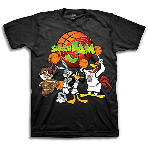 Mens Space Jam Classic Shirt - Tune Squad Michael Jordan & Bugs Bunny Tee - Space Jam 90's Classic T-Shirt (Black Space Jam Team, XL)