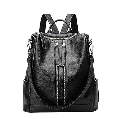 Promini Women Lightweight Real Leather Backpack Black Purse Versatile Shoulder Bag (Upgraded 2.0)